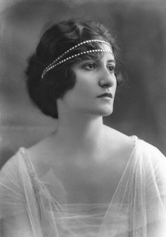Princess Helene Cantacuzène wearing her Diamond Bandeau Tiara, Romania (diamonds). © National Portrait Gallery, London.