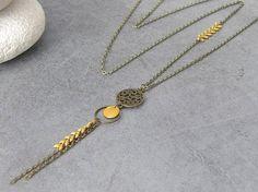Collier Sautoir Bronze Style Ethnique Chic Sequin Emaillé