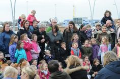 Kids and Adults alike enjoying the Punch and Judy show at South Shields.
