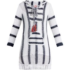 Anna Kosturova Cape Cod striped-crochet hooded dress ($300) ❤ liked on Polyvore featuring dresses, blue white, cotton slip, colorful dresses, lace up dress, crochet beach dress and hooded dress