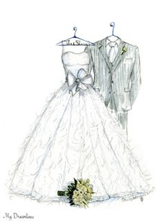 Dreamlines Wedding Dress Sketch and Suit 9