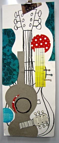 I recently finished a project on Picasso with my graders. I love using the guitar for subject matter, because it is something that. Collages, Collage Art, Picasso Art, Pablo Picasso, Picasso Collage, Classe D'art, 6th Grade Art, Art Lessons Elementary, Art Lesson Plans