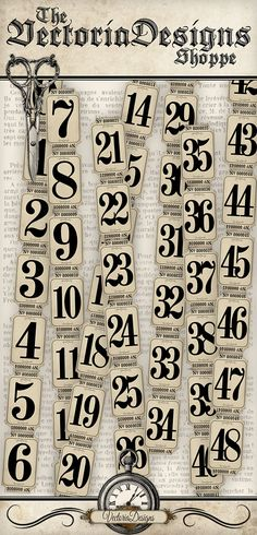 Vintage Tickets Strips with Numbers vintage hobby crafting