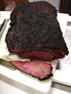Smokefest, we need a good brisket recipe! This one you smoke it for 2 hours then wrap it in foil and finish it either on the smoker or in the oven. Perfect for Labor Day Best Brisket Recipe, Smoked Brisket Recipes, Smoked Brisket Rub, Jerky Recipes, Venison Recipes, Smoked Ribs, Game Recipes, Rib Recipes, Sausage Recipes