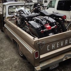 Chevy Truck with bagger in bed, Harley Davidson FLH Old Vintage Cars, Vintage Bikes, Antique Cars, 67 72 Chevy Truck, Open Carry, C10 Trucks, Harley Davidson Bikes, Cars And Motorcycles, Motorbikes