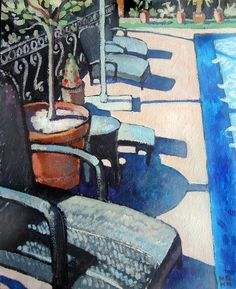 Terrace by the pool South of France by TheArtCrowd on Etsy, £45.00