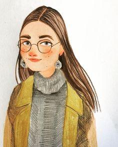 Portrait Illustration, Cute Illustration, Character Illustration, Watercolor Illustration, Digital Illustration, Pretty Art, Cute Art, Art Sketches, Art Drawings