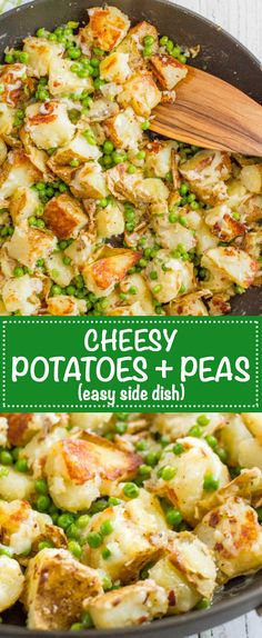 Easy one pan cheesy potatoes and green peas is a fast and delicious side dish, perfect for weeknight family dinners! | www.familyfoodonthetable.com