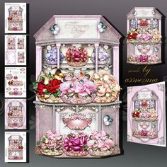 Beautiful White Flower Shop with Baskets full of Roses on Craftsuprint designed by Atlic Snezana - Beautiful White Flower Shop with Baskets full of Roses: 5 sheets for print with decoupage for 3D effect plus few sentiment tags (for your own personal text) - Now available for download!