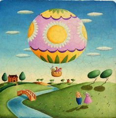 Air balloon - Alison Jay { she has several beautiful books out; color, shape, perspective }