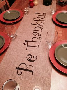 Burlap Table Runner 12 14 & 15 wide Be Thankful by CreativePlaces