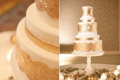 Elegant ivory wedding cake with gold foil accents