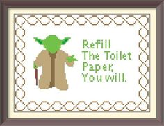 Yoda Bathroom Advice Pattern by DuctTapeStitches on Etsy