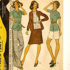 A Shirt-Jacket, Walking Shorts, A Line Skirt and Straight Leg Pants Separates Pattern, Vintage 1974