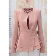 Stylish Slimming Fit Flouncing Hem Puff Long Sleeve Women's Suit Coat  $23.46