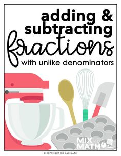 Adding and Subtracting Fractions with Unlike Denominators Project - Teaching Fractions, Math Fractions, Teaching Math, Real Life Math, Math Major, Adding And Subtracting Fractions, Fifth Grade Math, Math Task Cards, Math Projects