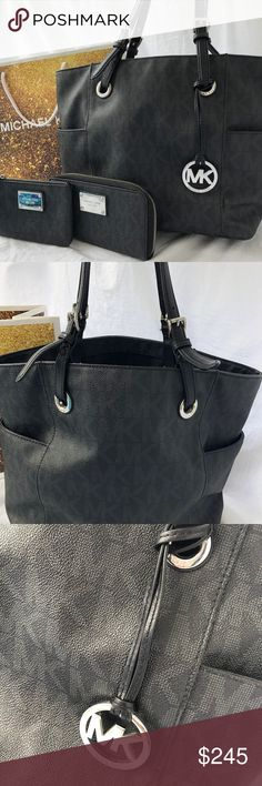 MICHAEL KORS JET SET TOTE, LG WALLET & WRISTLET GORGEOUS 3 PIECE SET:)   GREAT BUY!!  EXCELLENT CONDITION MICHAEL KORS BLACK/GREY JET SET SIGNATURE TOTE, NEW LARGE ZIP AROUND WALLET & NEW WRISTLET  IF YOU HAVE ANY QUESTIONS, MESSAGE ME ANYTIME!  THANK YOU FOR LOOKING IN MY CLOSET:)                    OFFERS ACCEPTED KORS Michael Kors Bags Shoulder Bags