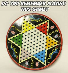 I had this Chinese Checkers set! You stored the marbles inside the metal tin. I ruled Chinese Checkers!!
