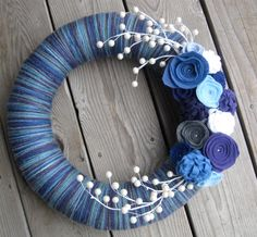 Winter Berries, Yarn and Felt Front Door Wreath,14 inch Wreath/ LAST ONE with this yarn
