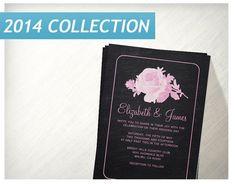 Pink Black Rustic Floralflower Wedding Invitations