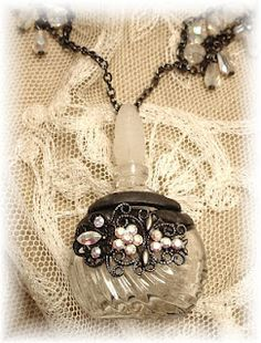 Soldered necklace to hold cherished keepsakes from mini perfume bottles