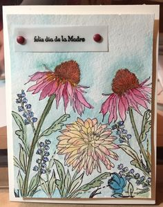 """Tim Holtz """"flower garden"""" stamps with watercolors - Mother's Day card. I also used the flower sprig from the Wplus9 """"pretty peonies"""" to fill in the gaps."""