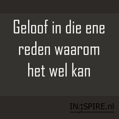Spreuk: Geloof in die ene reden waarom het wel kan Sign Quotes, Words Quotes, Motivational Quotes, Funny Quotes, Inspirational Quotes, Sayings, Qoutes, Best Quotes, Love Quotes
