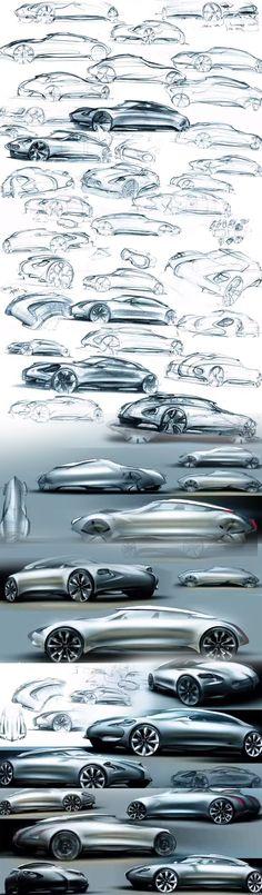 컨셉 디자인이 아름답기로 유명한 시트로엥 컨셉카 제시로 스케치부터 렌더링까지 디자인 과정을 한눈에 볼 수 있었다.