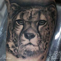 Tatuaje de un guepardo de estilo black and grey en el interior del brazo derecho.