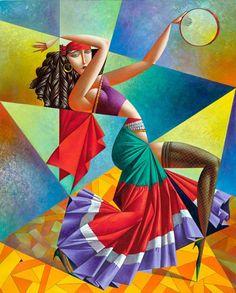 "Georgy Kurasov : ""The Gypsy Dancer "" , oil on canvas , 101x81 cm"