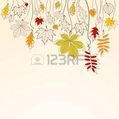 septembre: Main dessiné tombant automne quitte arrière-plan