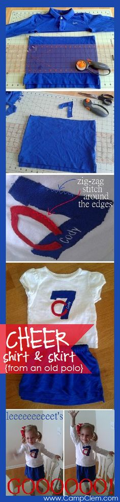 super fast   easy toddler girl cheerleader uniform made from brother s old  golf shirt tutorial 2cf7d3791