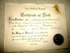 VINTAGE BIRTH CERTIFICATE EAST OAKLAND CALIFORNIA WITH HAIR 1938