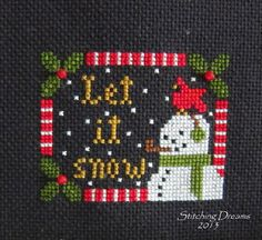 """Let It Snow"" which can be found in the 2013 Just Cross Stitch Ornament issue. Just Cross Stitch, Beaded Cross Stitch, Cross Stitch Flowers, Counted Cross Stitch Patterns, Cross Stitch Designs, Cross Stitch Embroidery, Christmas Embroidery Patterns, Embroidery Monogram, Embroidery Ideas"