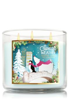 "Sweater Weather - 3-Wick Candle - Bath & Body Works - The Perfect 3-Wick Candle! Made using the highest concentration of fragrance oils, an exclusive blend of vegetable wax and wicks that won't burn out, our candles melt consistently & evenly, radiating enough fragrance to fill an entire room. Topped with a silver, flame-extinguishing lid! Burns approximately 25 - 45 hours and measures 4"" wide x 3 1/2"" tall."