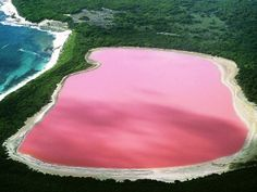 Lago Hillier, Australia Il colore rosa di questo lago è il risultato di un colorante creato da alghe come la Dunaliella salina residenti nell'acqua del lago. Nonostante la strana tonalità, quest'acqua non sembra avere effetti negativi sugli esseri umani e sulla fauna locale. http://rentholidayworld.blogspot.it/p/35-luoghi-da-sogno-da.html
