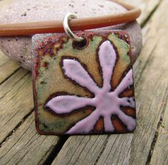 torch fired enamel sgraffito pendant  pink flower by mrozspoon, $40.00