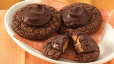 Peanut Butter Brownie Cookies -- These chocolaty cookies have a peanut butter surprise in every bite.