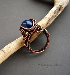 copper ring with a lapis lazuli, and brass, handcrafted patinated and polished size 17 and over