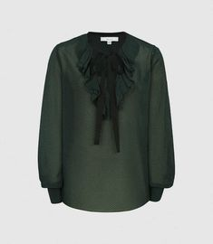 Mackenzie Green Textured Blouse With Bow Detail – REISS