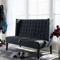 Owstynn Gray Linen Modern Banquette Bench