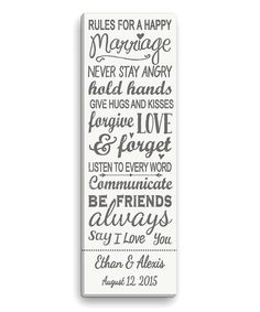 Personalized Planet Gray Rules for a Happy Marriage Personalized Canvas | zulily
