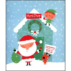 """Santa's Workshop Calendar Wrapper: Gift wrap in seconds with this handy gift wrap envelope featuring Santa, a reindeer and elf at Santa's North Pole workshop. Fits any calendar up to 12.5"""" x 14.5"""". Gift wrapping has never been this easy!  $1.00  http://calendars.com/Christmas/Santas-Workshop-Calendar-Wrapper/prod201200012106/?categoryId=cat00134=cat00134#"""