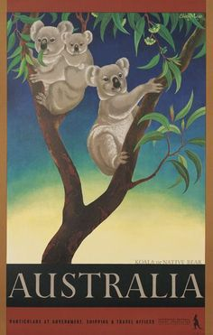 Australia Koala Vintage World Travel Poster by Eileen Mayo Art Print by Retro Graphics. All prints are professionally printed, packaged, and shipped within 3 - 4 business days. Vintage Advertising Posters, Retro Poster, Vintage Travel Posters, Vintage Advertisements, Vintage Ads, Party Vintage, Posters Australia, Australian Vintage, Australian Icons