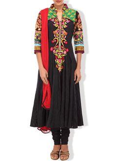 Black anarkali suit adorn in resham embroidery only on Kalki