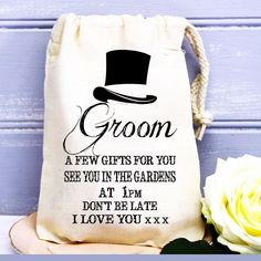 Personalised wedding morning groom husband to be cotton gift bag present.