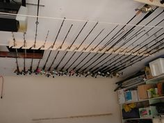 Post your ceiling mounted rod holders - Page 2 - The Hull Truth - Boating and Fi. Post your ceiling mounted rod holders – Page 2 – The Hull Truth – Boating and Fishing Forum Fishing Pole Storage, Fishing Pole Holder, Pole Holders, Kayak Storage, Boat Storage, Fishing Poles, Garage Storage, Diy Storage, Fly Fishing