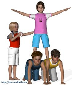 Pyramides et figures d'acrosport en 3D - *Acrosport en primaire - Trios d'acrosport Pe Ideas, Yoga For Kids, Team Building, Physical Education, Kids Gifts, Stunts, Yoga Poses, Cheerleading, Children