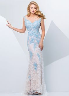 2015 Lace Bodice Long Cap Sleeves Keyhole Back Nude Blue Prom Dress