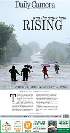 Boulder Daily Camera Front Page: Sept. 22, 2013 Our A1 the week after the flooding in Boulder County.
